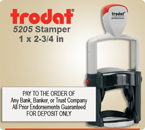 This is a Trodat Professional Self Inking Rubber Stamp No. 5205 – This Trodat Stamper has a 1 x 2-3/4 inch impression area. Used mostly for long messages.