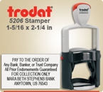 Order Trodat Professional Self Inking Rubber Stamp No. 5206 online – This Trodat Stamper has a 1-5/16 x 2-1/4 inch impression area.