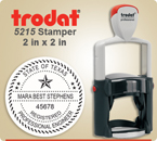 Order Trodat Professional Self Inking Rubber Stamp No. 5215 online – This Trodat Stamper has a 2 x 2 inch round impression area.
