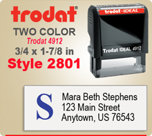 Order a Two Color Ink Stamp by Trodat with Address to the Right and A Logo to the lelft. This is a Trodat 4912. Order by 4 and ships next day.