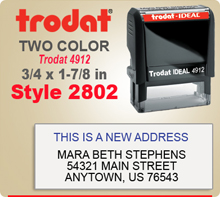 Order a Two Color Ink Stamp by Trodat with Multi Lines Upper and Lower sections. This is a Trodat 4912. Order by 4 and ships next day.