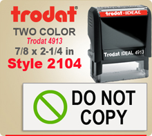 Order this Two Color Ink Stamp by Trodat with Address to the Right and a Logo or Letter Initial to the lelft. This is a Trodat 4913