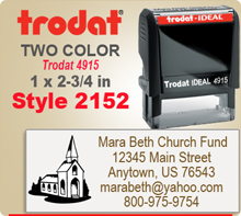 Order this Two Color Ink Stamp by Trodat with Address to the Right and a Logo or Letter Initial to the lelft. This is a Trodat 4915. Image size is 1 by 2-3/4 inches.