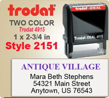 Order this Two Color Ink Stamp by Trodat with Information in upper and lower sections. This is a Trodat 4915. Image size is 1 by 2-3/4 inches.