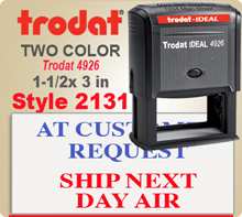 Order this Two Color Ink Stamp by Trodat with Information in upper and lower sections. This is a Trodat 4926 with Top Lines and Bottom Lines filling same amount of space. Image size is 1-1/2 by 3 inches.