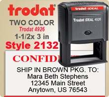 Order this Two Color Ink Stamp by Trodat with Information in upper and lower sections. This is a Trodat 4926 has One Top Line and Multiple Lines below. Image size is 1-1/2 by 3 inches.