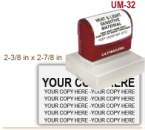 Order Ultimark Pre Inked Rubber Stamp No. UM 32. Stamp is 2-3/8 x 2-7/8 inches in impression size. Ultimark Pre Inked Rubber Stamps are absolutely top quality.
