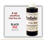 Ultra Perm Opaque Fast Dry Ink in 4 oz. Bottle is used with a Handle Stamp with Genuine Rubber imprint die plate and a Felt Stamp Pad. This ink can also be used with Pullman non-self inking Numbering Band Stamps.