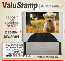 AB2001 ValuStamp Artistic Animal Baby Stamper has a 7/8 x 2-1/4 inch printing area. 5 lines or less of 11 point letters fit well on this Stamper. This self inking Stamp has a beautiful Animal Baby picture label that fills the front of the stamp.