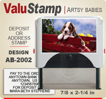 AB2002 ValuStamp Artistic Animal Baby Stamper has a 7/8 x 2-1/4 inch printing area. 5 lines or less of 11 point letters fit well on this Stamper. This self inking Stamp has a beautiful Animal Baby picture label that fills the front of the stamp.