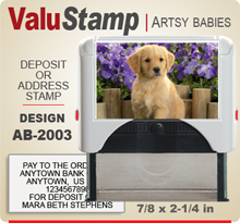 AB2003 ValuStamp Artistic Animal Baby Stamper has a 7/8 x 2-1/4 inch printing area. 5 lines or less of 11 point letters fit well on this Stamper. This self inking Stamp has a beautiful Animal Baby picture label that fills the front of the stamp.