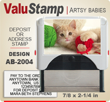 AB2004 ValuStamp Artistic Animal Baby Stamper has a 7/8 x 2-1/4 inch printing area. 5 lines or less of 11 point letters fit well on this Stamper. This self inking Stamp has a beautiful Animal Baby picture label that fills the front of the stamp.