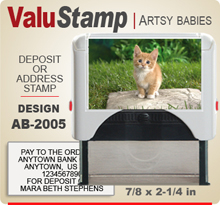AB2005 ValuStamp Artistic Animal Baby Stamper has a 7/8 x 2-1/4 inch printing area. 5 lines or less of 11 point letters fit well on this Stamper. This self inking Stamp has a beautiful Animal Baby picture label that fills the front of the stamp.