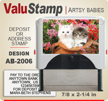 AB2006 ValuStamp Artistic Animal Baby Stamper has a 7/8 x 2-1/4 inch printing area. 5 lines or less of 11 point letters fit well on this Stamper. This self inking Stamp has a beautiful Animal Baby picture label that fills the front of the stamp.