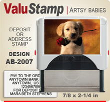 AB2007 ValuStamp Artistic Animal Baby Stamper has a 7/8 x 2-1/4 inch printing area. 5 lines or less of 11 point letters fit well on this Stamper. This self inking Stamp has a beautiful Animal Baby picture label that fills the front of the stamp.