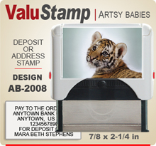 AB2008 ValuStamp Artistic Animal Baby Stamper has a 7/8 x 2-1/4 inch printing area. 5 lines or less of 11 point letters fit well on this Stamper. This self inking Stamp has a beautiful Animal Baby picture label that fills the front of the stamp.