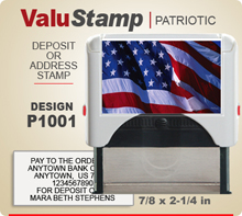 P1001 ValuStamp Patriotic Stamper has a 7/8 x 2-1/4 inch printing area. 5 lines or less of 11 point letters fit well on this Stamper. This self inking Stamp has a beautiful Patriotic label that fills the front of the stamp.