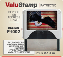 P1002 ValuStamp Patriotic Stamper has a 7/8 x 2-1/4 inch printing area. 5 lines or less of 11 point letters fit well on this Stamper. This self inking Stamp has a beautiful Patriotic label that fills the front of the stamp.