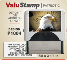 P1004 ValuStamp Patriotic Stamper has a 7/8 x 2-1/4 inch printing area. 5 lines or less of 11 point letters fit well on this Stamper. This self inking Stamp has a beautiful Patriotic label that fills the front of the stamp.