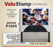 P1005 ValuStamp Patriotic Stamper has a 7/8 x 2-1/4 inch printing area. 5 lines or less of 11 point letters fit well on this Stamper. This self inking Stamp has a beautiful Patriotic label that fills the front of the stamp.