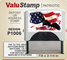 P1006 ValuStamp Patriotic Stamper has a 7/8 x 2-1/4 inch printing area. 5 lines or less of 11 point letters fit well on this Stamper. This self inking Stamp has a beautiful Patriotic label that fills the front of the stamp.
