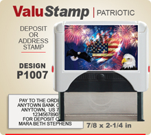 P1007 ValuStamp Patriotic Stamper has a 7/8 x 2-1/4 inch printing area. 5 lines or less of 11 point letters fit well on this Stamper. This self inking Stamp has a beautiful Patriotic label that fills the front of the stamp.