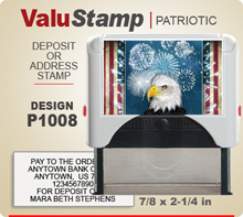 P1008 ValuStamp Patriotic Stamper has a 7/8 x 2-1/4 inch printing area. 5 lines or less of 11 point letters fit well on this Stamper. This self inking Stamp has a beautiful Patriotic label that fills the front of the stamp.