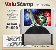 P1009 ValuStamp Patriotic Stamper has a 7/8 x 2-1/4 inch printing area. 5 lines or less of 11 point letters fit well on this Stamper. This self inking Stamp has a beautiful Patriotic label that fills the front of the stamp.