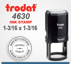Trodat 4630 Round Printy Stamp is for placement of your Custom Logo. It has a 1-3/16 Round platen area. Ships in 24 hours if order placed by 4 pm central time.