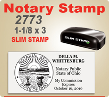 MaxLight SLIM 2773 Notary Stamp. Size IS 1-1/8 by 3 inches. This Notary Stamp makes a very vidid imprint as it is made similar to an offset printing plate. Order by 4 pm and ships next day.