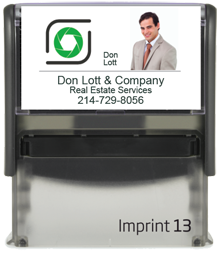 Custom Self Inking Personalized Rubber Stamper designed to be a closing gift for Your Company's Real Estate Agents. Block Font. Order by 4 PM. Ships next day..