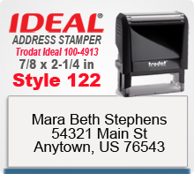 Design your custom Style 122 Trodat Ideal 100 4913 Rubber Address Stamp here. Ships quickly usually in 1 day.