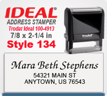 Design online your custom Trodat Style 134 Ideal 100 4913 Rubber Address Stamp. Ships Quickly. Quality Production always.