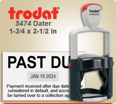 Trodat 5474 Professional Dater With Metal Frame. This Dater is usually shipped to you next day if order in by 4 PM Central.