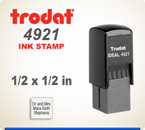 Trodat Printy 4921 Inspection size Rubber Ink Stamp. The 4922 is a 7/16 inch by 7/16 inch square. Order this inspection stamp by 4 pm central time and it ships in 1 day.