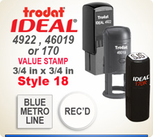 Trodat Ideal 170 46019 4922 Value Stamp 18. Choose your Personalized model here. Imprint size is 3/4 x 3/4 round or square.