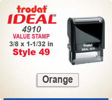 Trodat Ideal 50 4911 Value Stamp 49. This Personalized Trodat Ideal 50 4911 Self Inking Stamp displayed here has a 1/2 x 1-1/2 inch imprint area.