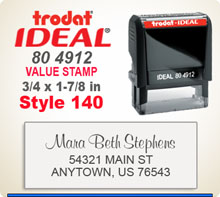 Trodat Ideal 80 4912 Value Stamp 136. This Personalized Trodat Ideal 80 4912 Self Inking Stamp displayed here has a 3/4 x 1-7/8 inch imprint area.